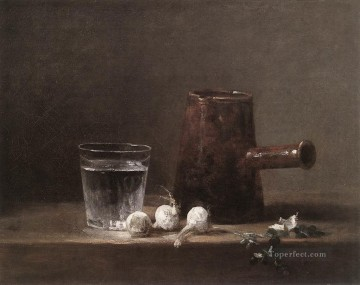 Still life Painting - Water Glass and Jug Jean Baptiste Simeon Chardin still life